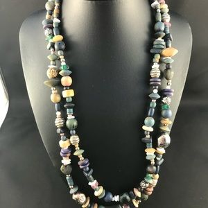 Vintage two strand wooden bead necklace